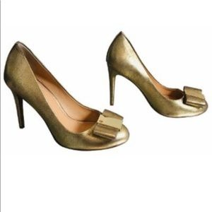 Tory Burch Gold leather metallic heels shoes